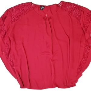 Simply Emma Red Blouse with Lace 3X EUC